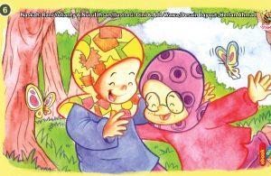 ilustrasi seri kebiasaan anak shalih saling menyayangi sesama teman