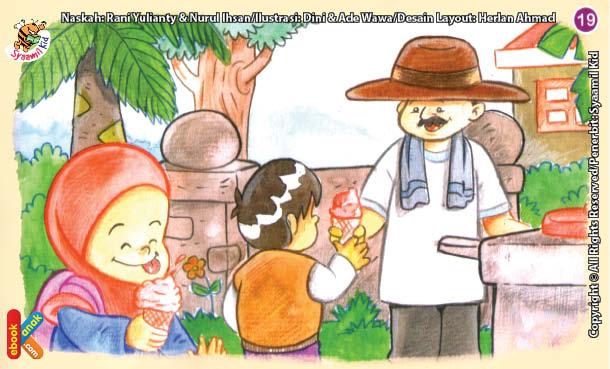 ilustrasi seri kebiasaan anak shalih sebaiknya jangan dibiasakan jajan sembarangan