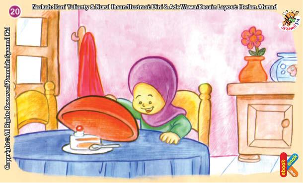 ilustrasi seri kebiasaan anak shalih selalu menutup makanan