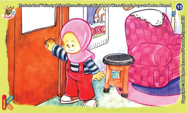 ilustrasi seri kebiasaan anak shalih selalu menutup pintu kamar mandi
