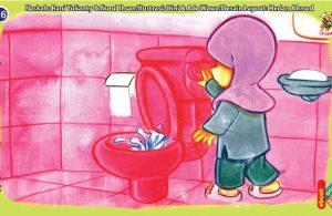 ilustrasi seri kebiasaan anak shalih selalu menyiram closet selesai buang air besar