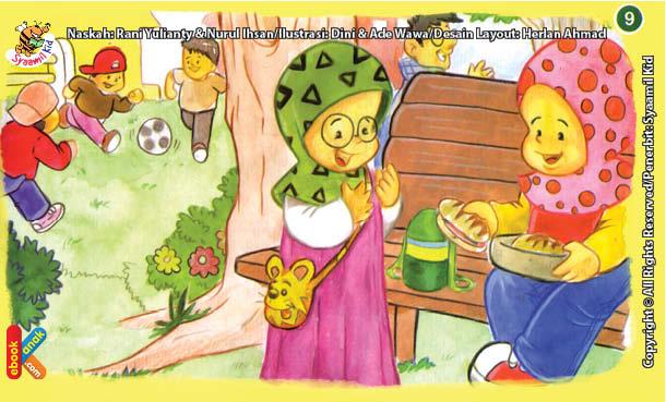 ilustrasi seri kebiasaan anak shalih senang berbagi makanan dengan teman