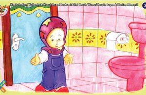 ilustrasi seri kebiasaan anak shalih setiap hari pergi ke kamar mandi
