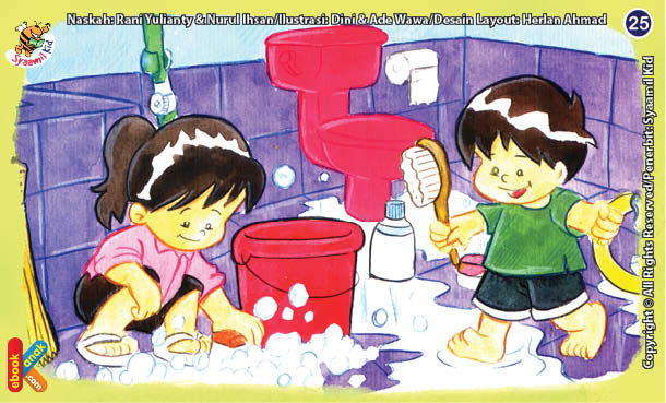 ilustrasi seri kebiasaan anak shalih tidak berlama-lama di kamar mandi