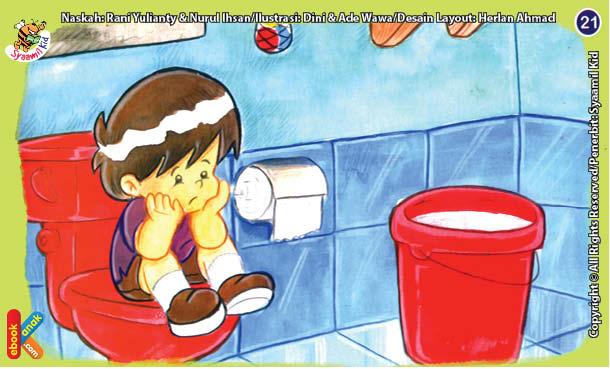 ilustrasi seri kebiasaan anak shalih tidak berzikir di kamar mandi