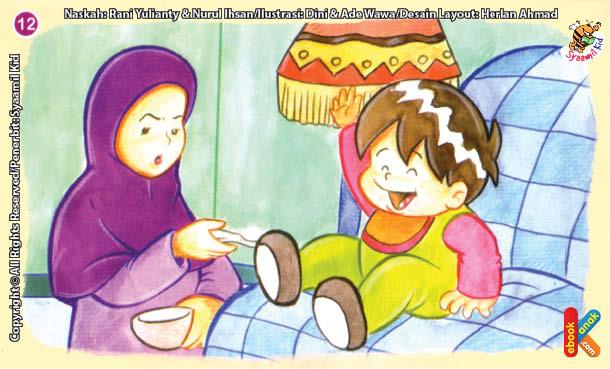 ilustrasi seri kebiasaan anak shalih tidak bicara saat mengunyah makanan