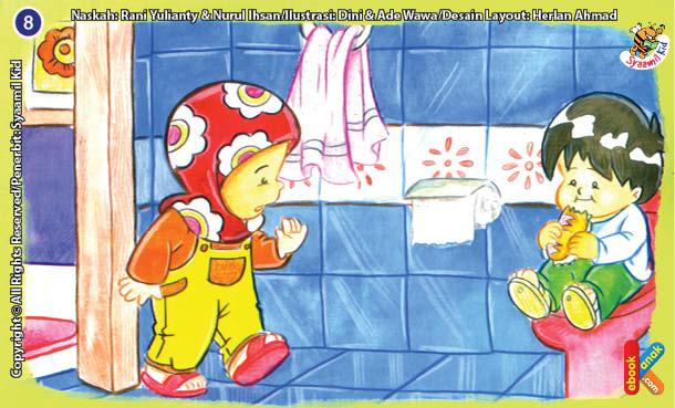 ilustrasi seri kebiasaan anak shalih tidak makan dan minum di kamar mandi