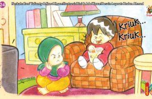 ilustrasi seri kebiasaan anak shalih tidak makan sampai bersuara