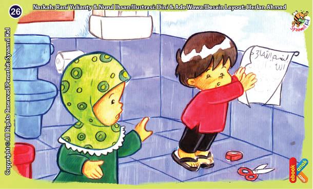 ilustrasi seri kebiasaan anak shalih tidak membawa tulisan al quran ke dalam kamar mandi