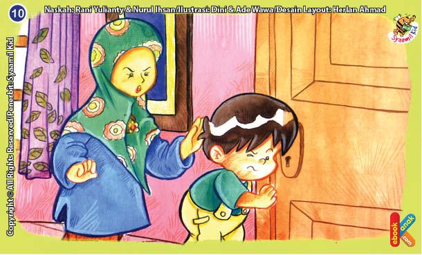 ilustrasi seri kebiasaan anak shalih tidak mengintip orang di kamar mandi