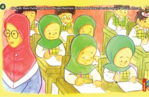 ilustrasi seri kebiasaan anak shalih tidak menyontek ketika ulangan
