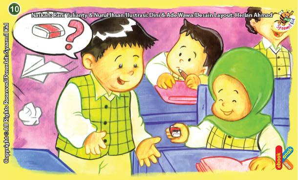 ilustrasi seri kebiasaan anak shalih tidak pelit jika teman meminjam sesuatu