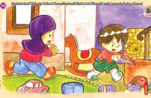 ilustrasi seri kebiasaan anak shalih tidak suka membuang-buang makanan