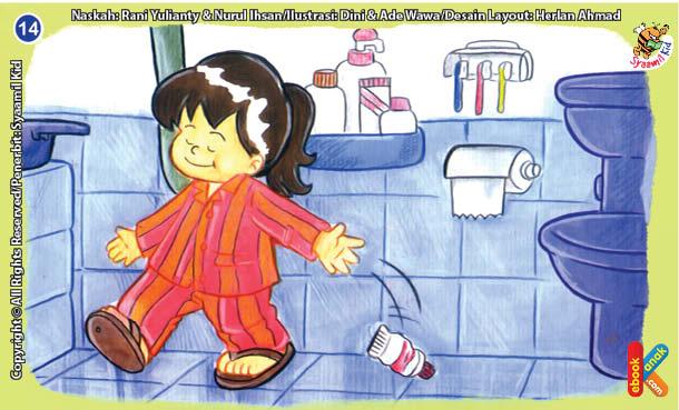 Ilustrasi Seri Kebiasaan Anak Shalih Tidak Suka Membuang