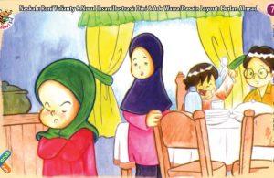 ilustrasi seri kebiasaan anak shalih tidak suka mencela makanan