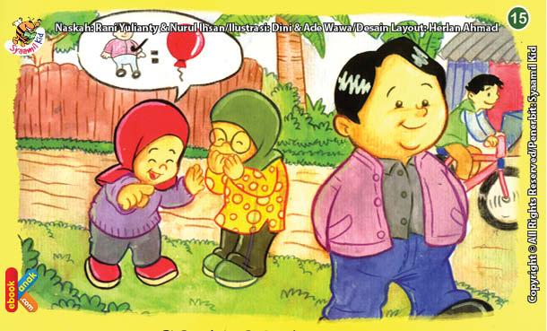 ilustrasi seri kebiasaan anak shalih tidak suka mencela teman