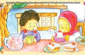 ilustrasi seri kebiasaan anak shalih tidak suka meniup makanan dan minuman panas