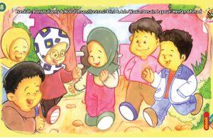 ilustrasi seri kebiasaan anak shalih tidak suka pilih pilih teman