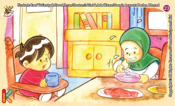 ilustrasi seri kebiasaan anak shalih tidak terburu-buru ketika makan