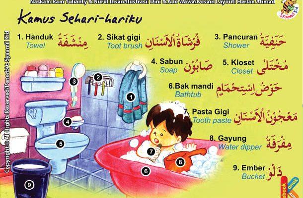 kamus sehari hari peralatan untuk mandi bahasa inggris, arab, dan indonesia