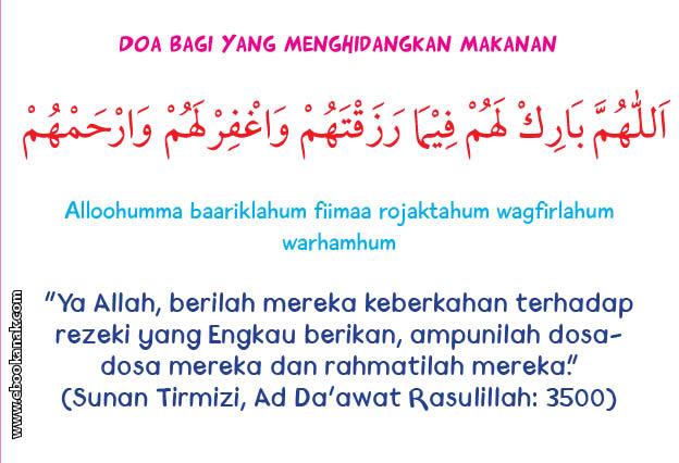 khat bacaan doa bagi yang menghidangkan makanan
