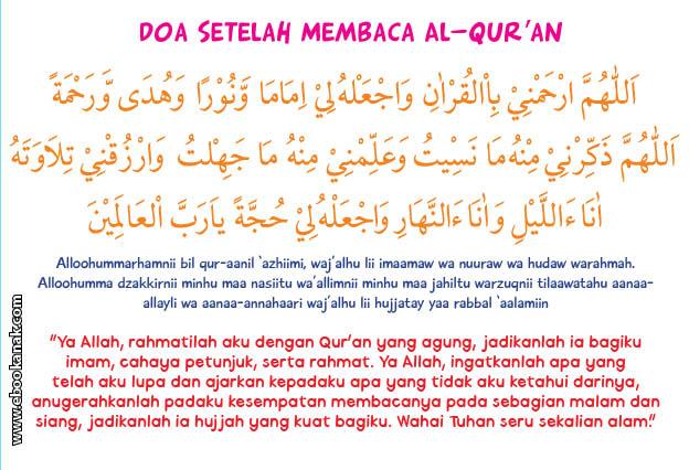 khat bacaan doa setelah membaca al quran