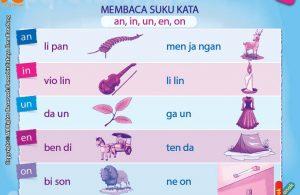 baca dan download gratis 10 menit mahir membaca, Belajar Membaca Suku Kata an, in, un, en, on