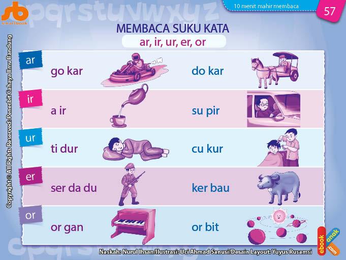 baca dan download gratis 10 menit mahir membaca, Belajar Membaca Suku Kata ar, ir, ur, er, or