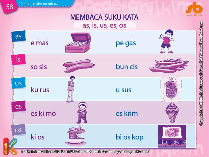 baca dan download gratis 10 menit mahir membaca, Belajar Membaca Suku Kata as, is, us, es, os