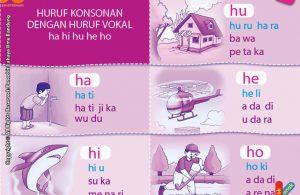 baca dan download gratis 10 menit mahir membaca, Huruf Konsonan dengan Huruf Vokal ha, hi, hu, he, ho