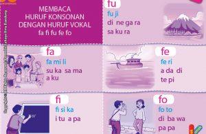 baca dan download gratis 10 menit mahir membaca, Membaca Huruf Konsonan dengan Huruf Vokal fa fi fu fe fo