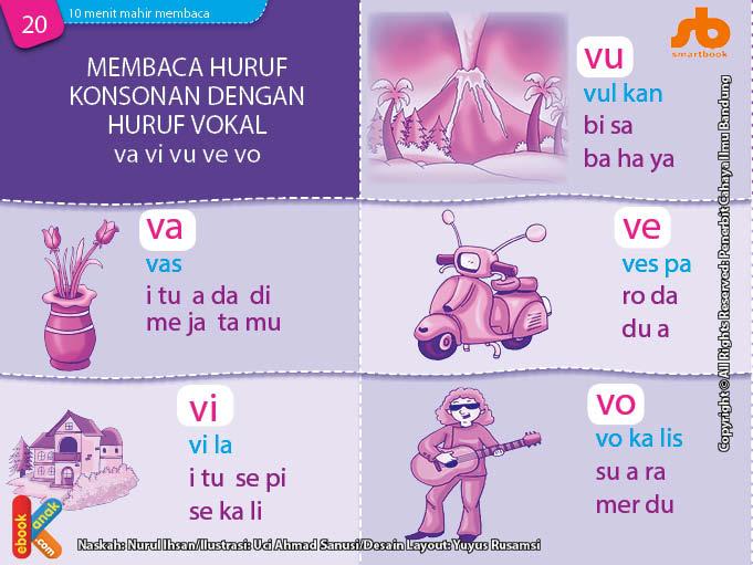 baca dan download gratis 10 menit mahir membaca, Membaca Huruf Konsonan dengan Huruf Vokal va, vi, vu, ve, vo