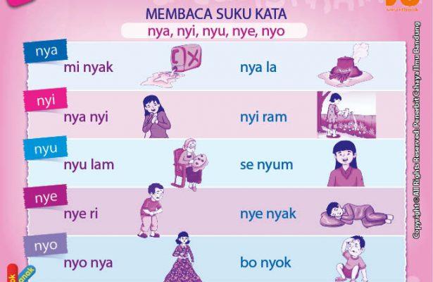 baca dan download gratis 10 menit mahir membaca, Membaca Suku Kata nya, nyi, nyu, nye, nyo