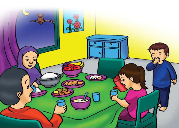 ilustrasi seri belajar islam sejak usia dini ayo berpuasa, Alif Bangun Sahur Karena Besok akan Berpuasa di Bulan Ramadhan