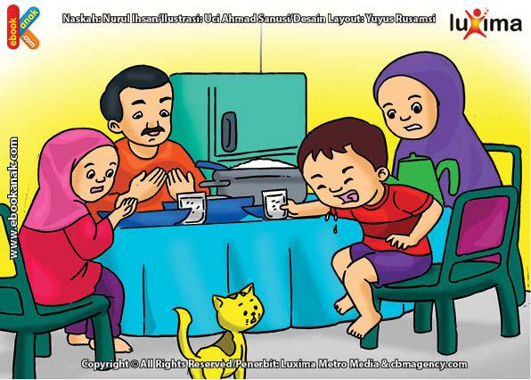 ilustrasi seri belajar islam sejak usia dini ayo berpuasa, Alif Lupa Berdoa dan Terburu-buru Saat Berbuka Puasa