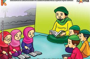 ilustrasi seri belajar islam sejak usia dini ayo berpuasa, Itikaf atau Berdiam di Masjid untuk Ibadah di Bulan Ramadhan
