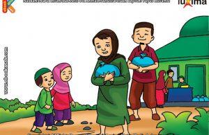 ilustrasi seri belajar islam sejak usia dini ayo berpuasa, Membayar Zakat Fitrah di Bulan Ramadhan Bagi Orang Muslim yang Mampu