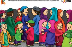 ilustrasi seri belajar islam sejak usia dini ayo berpuasa, Shalat Idul Fitri, Bersalaman, dan Bersilaturahim di Hari Raya Idul Fitri