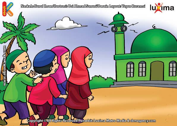 ilustrasi seri belajar islam sejak usia dini ayo kita shalat, Adzan Adalah Panggilan untuk Shalat Wajib 5 Waktu
