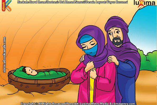 ilustrasi seri belajar islam sejak usia dini mengenal asmaul husna, Allah Menyelamatkan Nabi Ibrahim di dalam Gua dari Bahaya dan Kelaparan