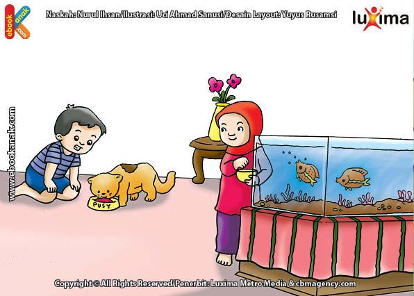 ilustrasi seri belajar islam sejak usia dini mengenal islam agamaku, Menyayangi Hewan Salah Satu Ibadah Pengantar ke Surga