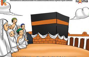 ilustrasi seri belajar islam sejak usia dini mengenal rukun islam, Jamaah Haji Melaksanakan Thawaf Mengelilingi Kabah 7 Kali