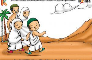 ilustrasi seri belajar islam sejak usia dini mengenal rukun islam, Jamaah Haji Melakukan Sai, Berlari-Lari Kecil Antara Bukit Shafa dan Marwah