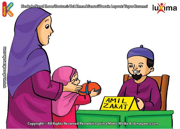 ilustrasi seri belajar islam sejak usia dini mengenal rukun islam, Kewajiban Membayar Zakat Fitrah di Akhir Bulan Ramadan