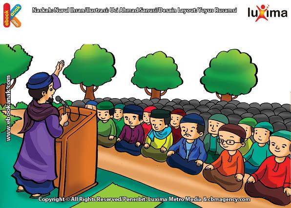 ilustrasi seri belajar islam sejak usia dini mengenal rukun islam, Melaksanakan Shalat Idul Fitri Berjamaah di Lapangan atau di Masjid