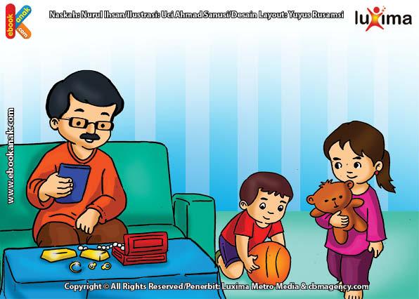ilustrasi seri belajar islam sejak usia dini mengenal rukun islam, Setiap Tahun Ayah Membayar Zakat Emas dan Perak