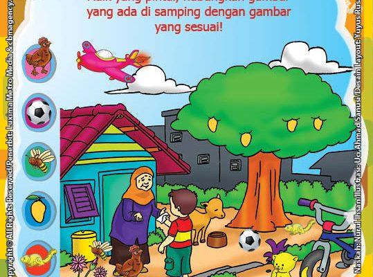ebook seri belajar islam sejak usia dini Aku Senang Bersedekah, Lembar Aktivitas PAUD TK Menghubungkan Gambar yang Sesuai