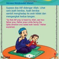 ebook seri belajar islam sejak usia dini Aku Suka Berdoa, Alif Berdoa Sambil Menghadap ke Arah Kiblat dan Mengangkat Kedua Tangan
