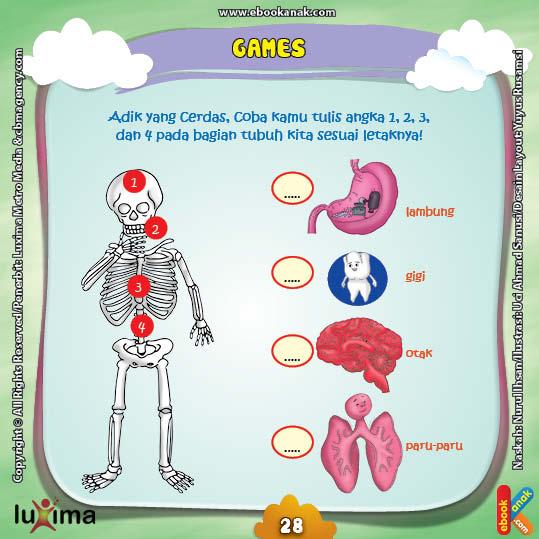 ebook seri sains anak alam semesta Rahasia Keajaiban tubuh, Lembar Kerja PAUD TK Mengenal Posisi Organ Tubuh Manusia