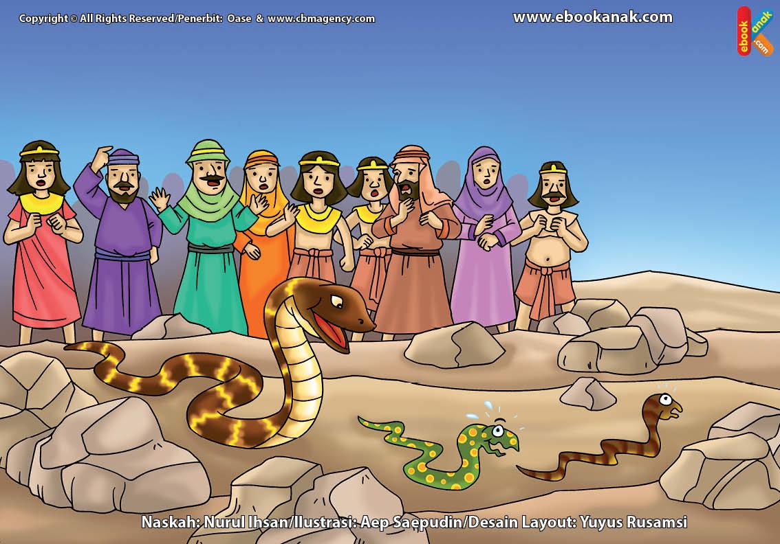 Bagaimana Cara Nabi Musa Menaklukkan Ular-Ular Para Penyihir Firaun?   Ebook Anak